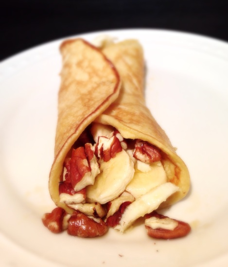 crepes, banana pecan, gluten free crepes, grain free options, little sprouts kitchen, paleo, breakfast