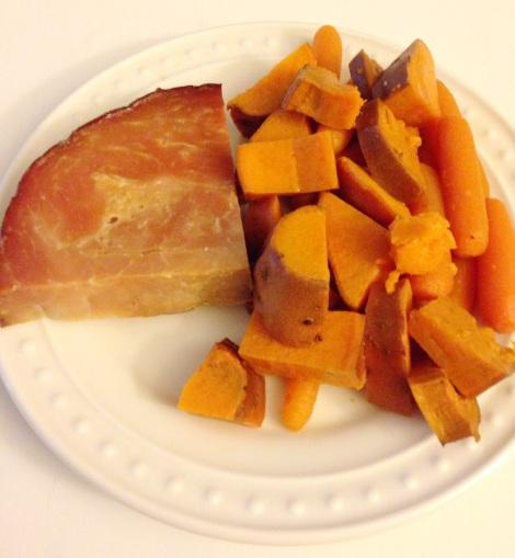 easter ham dinner, crockpot, ham, easter, little sprouts kitchen, paleo, gluten free, sweet potato, carrots