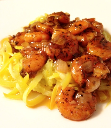 white wine and shrimp, zoodles, little sprouts kitchen, gluten free, noodle alternatives, dinner, paleo, main dish