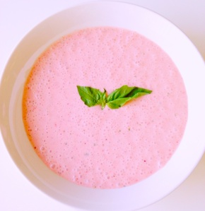 strawberry basil soup, paleo, dairy free, little sprouts kitchen