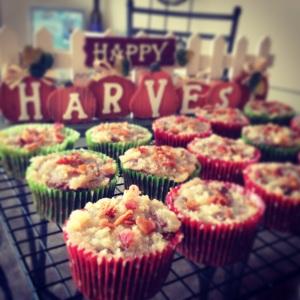 pumpkin spice cupcakes, salted caramel buttercream, bacon sprinkles